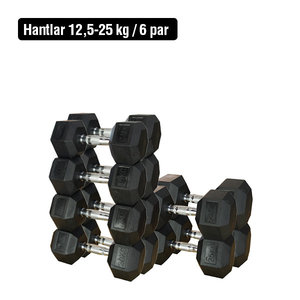 Hantelsats 12,5-25 kg/6 par