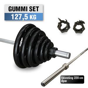 Skivstångspaket 127,5 kg WH Gummi med Gym Skivstång
