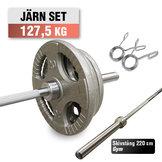 Skivstångspaket 127,5 kg WH Järn med Gym Skivstång