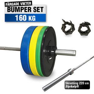 Färgat Bumper Set 160 kg med 220cm Styrkelyft skivstång