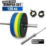 Färgat Bumper Set 120 kg med 220cm Styrkelyft skivstång