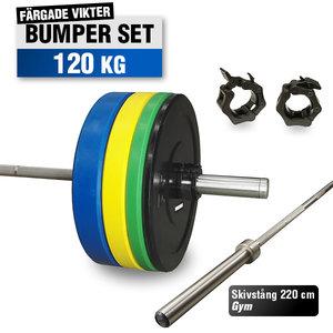 Färgat Bumper Set 120 kg med 220cm Gym skivstång