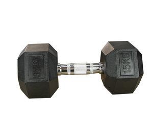 Hexhantel Gummi/Krom, 15 kg Master