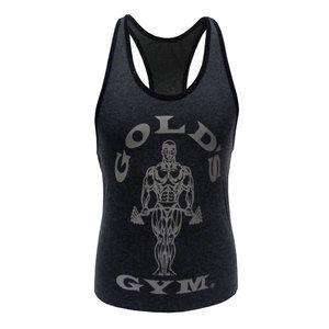 Golds Gym Ladies Loose Fit Stringer Vest, Charcoal Grey