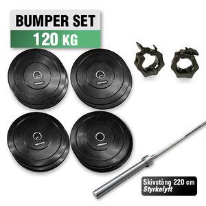 Bumper Set 120 kg med 220cm Styrkelyft Skivstång