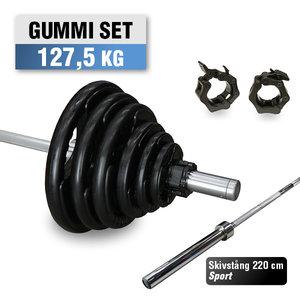 Skivstångspaket 127,5 kg WH Gummi med Sport Skivstång