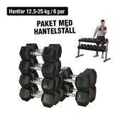 Hantelsats 12,5-25 kg/6 par Inkl. Hantelställ
