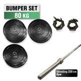 Bumper Set 80 kg med 220cm Gym skivstång