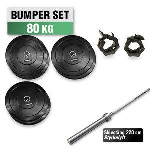 Bumper Set 80 kg med 220cm Styrkelyft skivstång