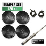 Bumper Set 120 kg med 220cm Gym skivstång